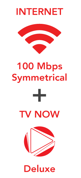100 Mbps Internet plus TV Now Deluxe for $151.00!